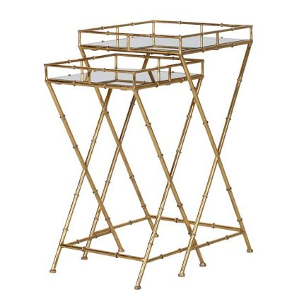 Bamboo Mirrored Nest of Tables