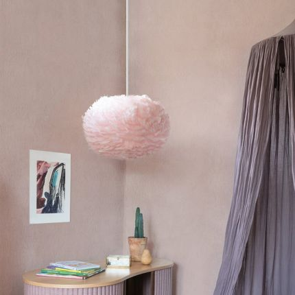 Multi use feather lampshade in pink