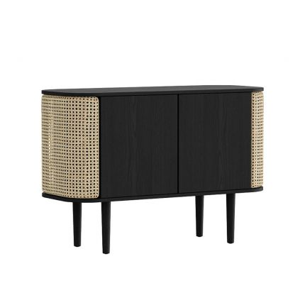 A sophisticated black oak and cane cabinet with rattan detailing