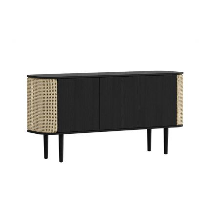 A stunning black oak and cane 3-door cabinet with contrasting rattan detailing