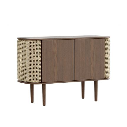 A luxurious dark brown oak and cane cabinet with rattan detailing