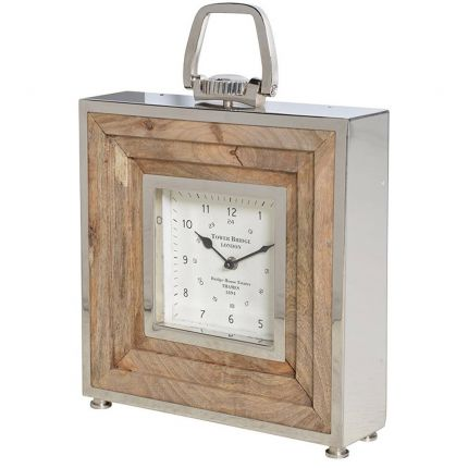 Natural wood design table clock with nickel finishes