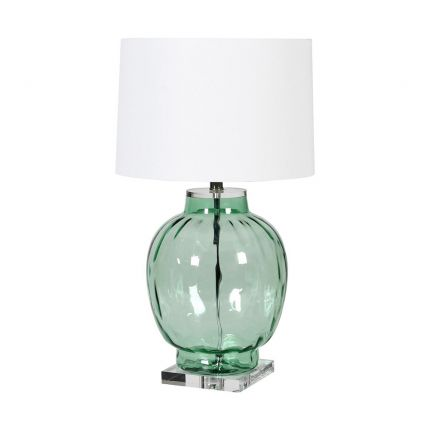 Contemporary green glass table lamp with white shade