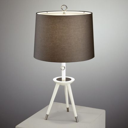Jonathan Adler white wooden tripod table lamp with a dark linen shade