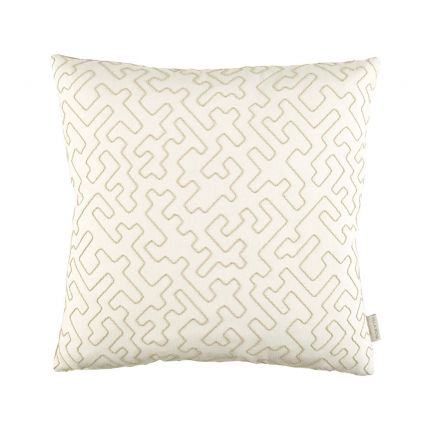Decorative cream and brown embroidered cushion