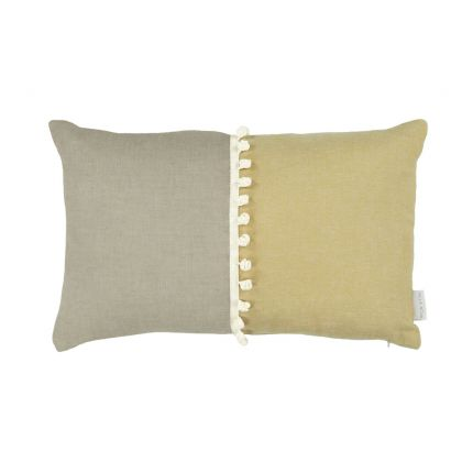 A luxurious two-toned rectangular cushion with bobbled details