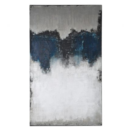 A luxurious moody blue, white and black abstract art piece