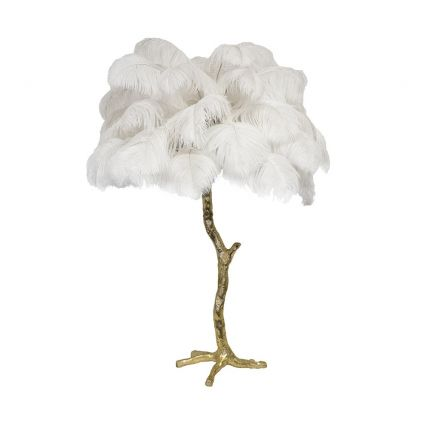 Mini ostrich feather lamp in white with a gold base