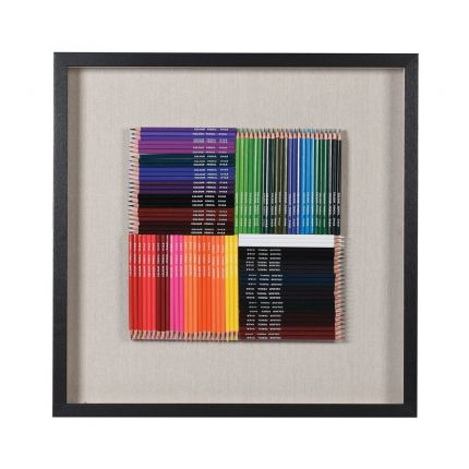 Colouring pencils wall hanging art in black frame