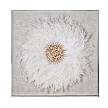 Luxurious boxed white feather wall art in frame
