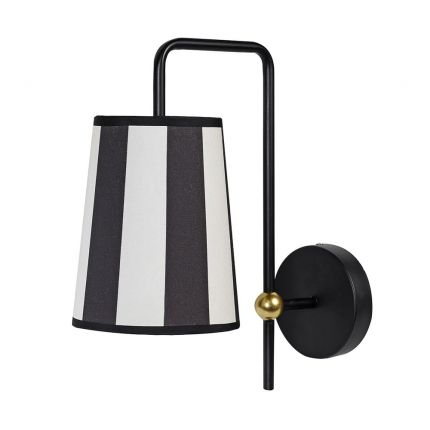 Monochrome striped wall lamp with golden accents