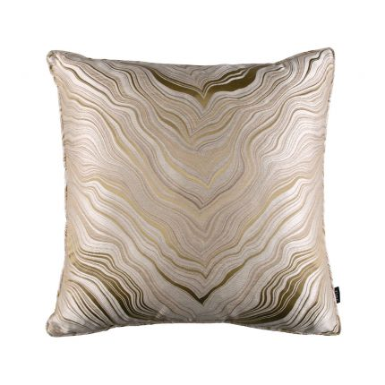 Luxurious neutral-toned silk and linen square cushion