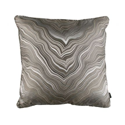 Luxurious marble effect patterned square silk cushion
