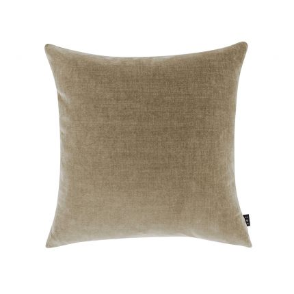 A luxurious taupe coloured cushion with a soft velvet finish