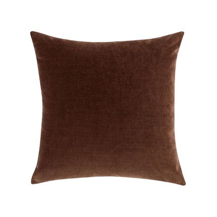 A rich red cushion with a soft velvet finish, linen reverse and feather insert
