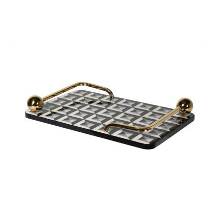 A glamorous, geometric black and cream tray with golden handles
